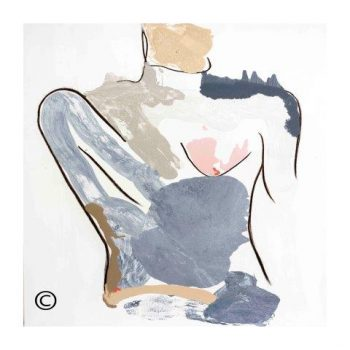 Contemporary art print - woman model -pastel colours - Bodyline I - Modern Detail By Sarah Jane
