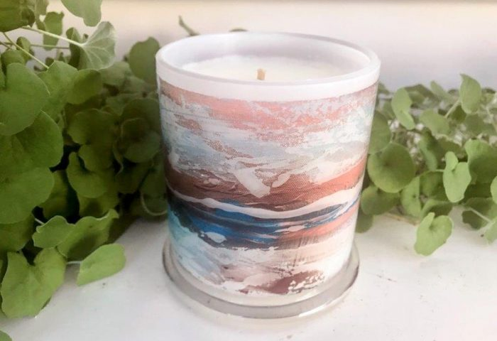 Designer Candles Australia By Sarah Jane Adelaide Artist with beach artwork Tenderness VII