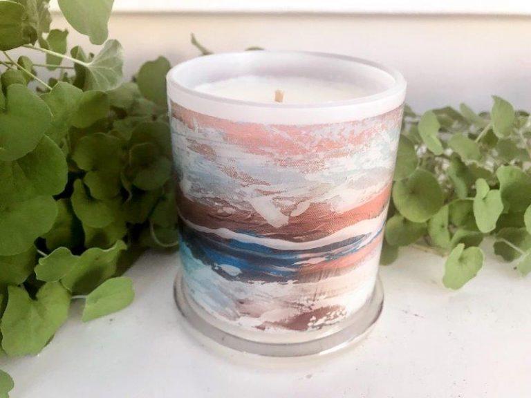 Designer Candles Australia By Sarah Jane Adelaide Artist with beach artwork Tenderness VII