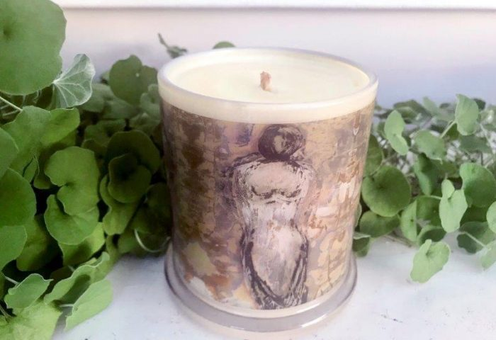 Designer Candles Australia By Sarah Jane Adelaide Artist with neutral abstract artwork Anonymous XXId