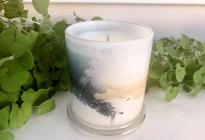 Designer Candles Australia By Sarah Jane Adelaide Artist with neutral abstract artwork Stellar VII