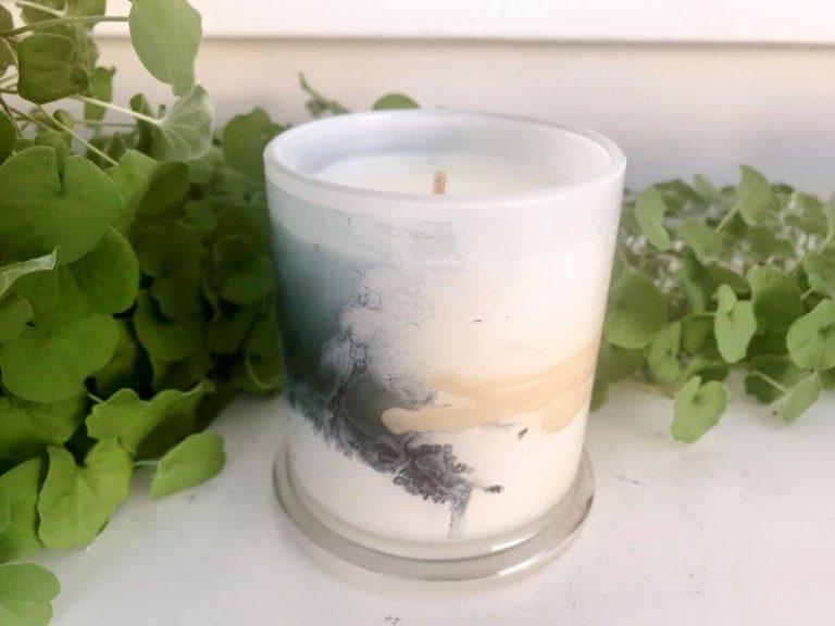 Designer Candles Australia By Sarah Jane Adelaide Artist with neutral abstract artwork Stellar VII