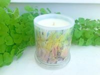 Designer Candles By Sarah Jane Abstract Artwork Green monet style called New Life IVb