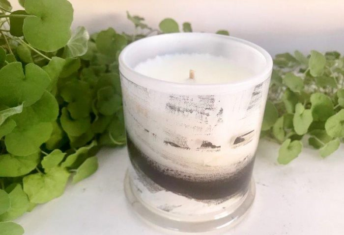 Designer Candles Australia By Sarah Jane Artist with black and white abstract artwork Warrior XIII