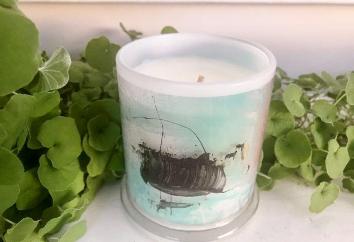 Designer Candles Australia By Sarah Jane Artist with blue abstract artwork On the Move VIc