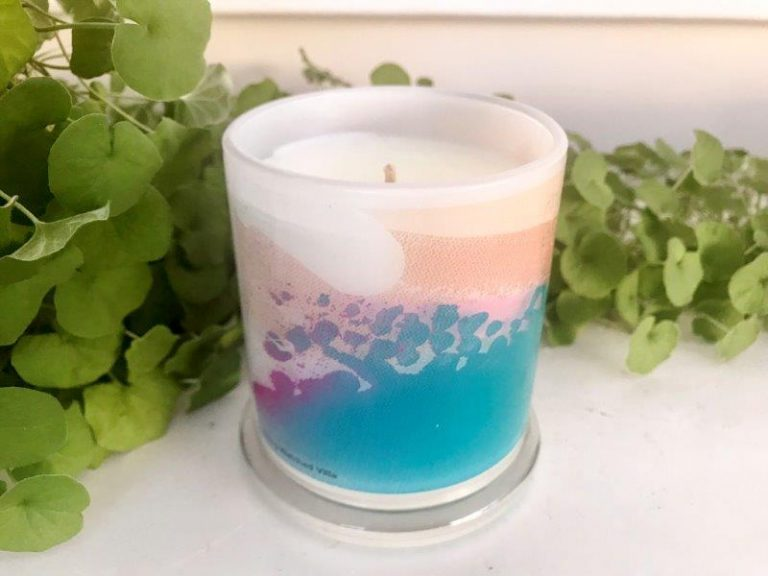 Designer Candles Australia By Sarah Jane Artist with colourful artwork Being watched VIIIa