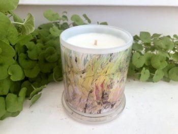 Designer Candles Australia By Sarah Jane Artist with monet style artwork New Life IVb