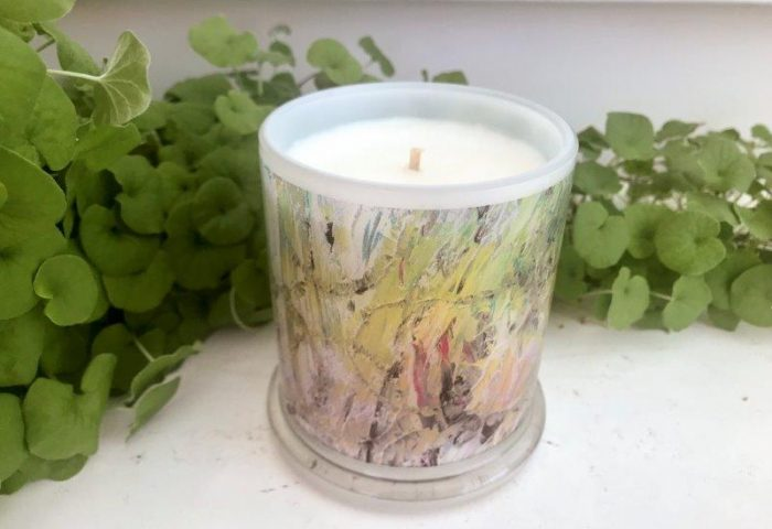 Designer Candles Australia By Sarah Jane Artist with monet style artwork New Life IVb