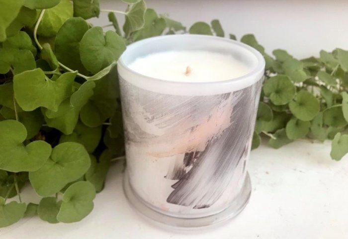 Designer Candles Australia By Sarah Jane Australian Artist with black and white abstract artwork Peach III