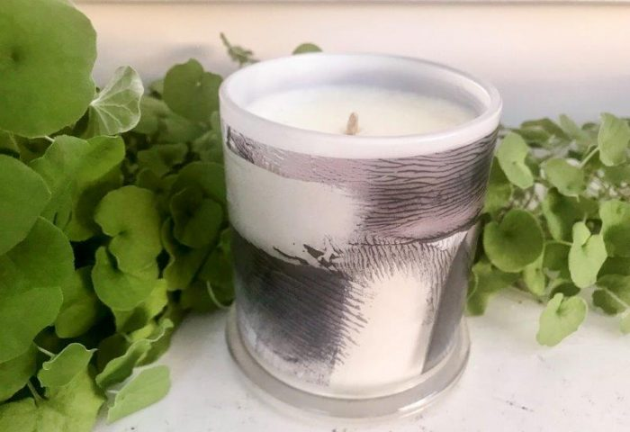 Designer Candles Australia By Sarah Jane with neutral abstract artwork ANonymous IVh