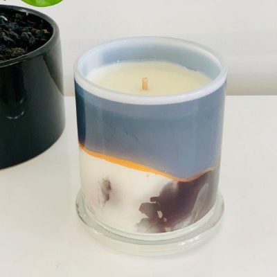 Designer Candles By Sarah Jane with Abstract Artwork Navy called Wind of Change IV