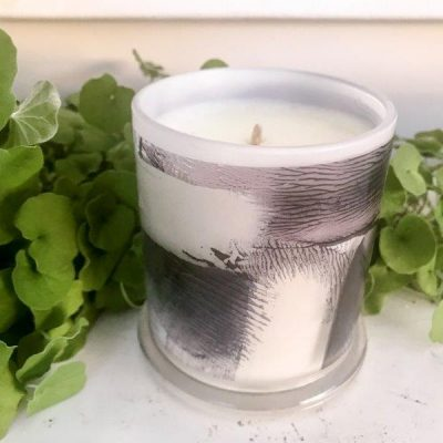 Designer Candles By Sarah Jane with Abstract Artwork in Purple and grey called Anonymous IVh