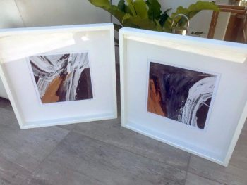 Designer Tan Prints in Frame - Playful Pair IIIc and Playful Pair IVc By Artist Sarah Jane
