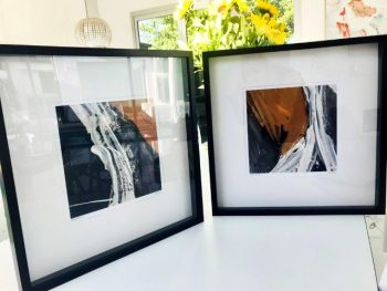 Designer Tan Prints in Frame - Playful Pair IIc and Playful Pair Vc By Artist Sarah Jane