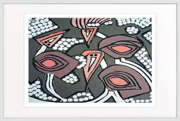 emu print abstract by sarah jane artist titled australiana iia in a white frame