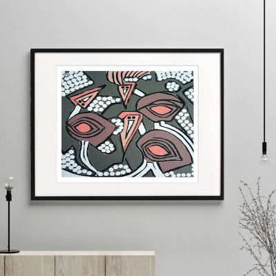 emu print modern abstract neutral colours titled australiana iia framed or unframed by Sarah Jane Australian Artist