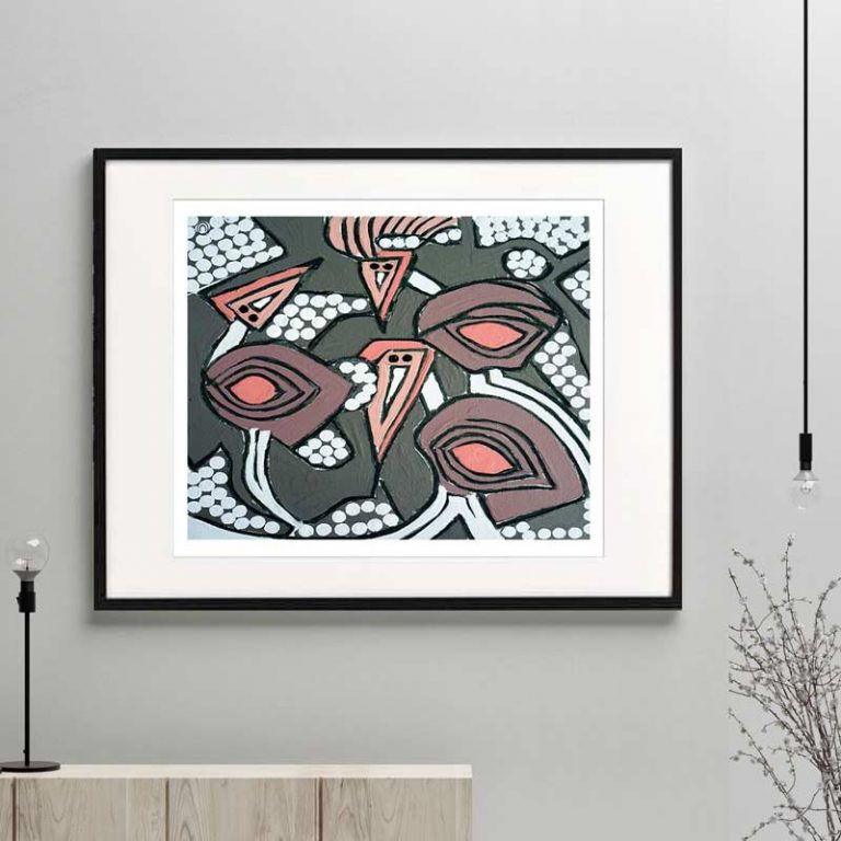 emu print modern abstract neutral colours titled australiana iia framed or unframed by Sarah Jane Australian Artist