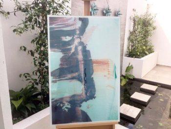 Feminine art print on glass - On the Move Lb by Australian Artist Sarah Jane