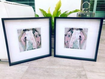 Feminine soft prints in frame - One of Us VIc and One of Us VIc inverted by Artist Sarah Jane