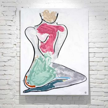figurative abstract painting woman kneeling colourful titled bodyline bold iii by adelaide artist sarah jane