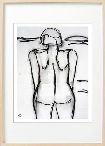 figurative line art print woman beach - sarah jane art titled linear iii in birch effect frame