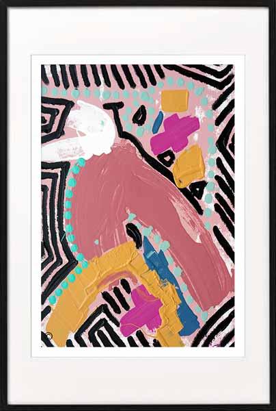 Fine Art Print Modern Abstract Bird colourful - Sarah Jane Artist - Australiana IIIa - Black frame