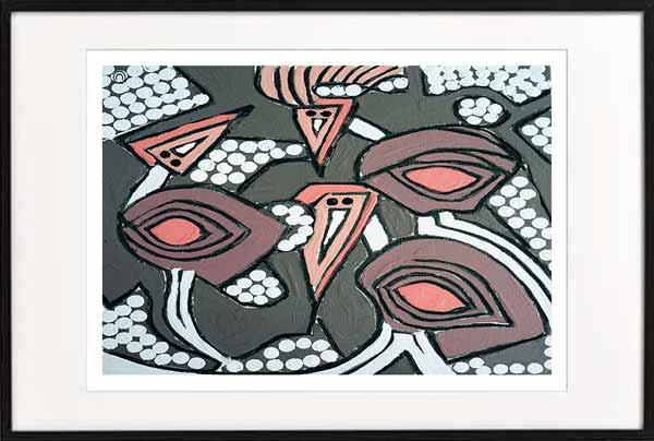 fine art print modern abstract emu by sarah jane artist titled australiana iia in a black frame