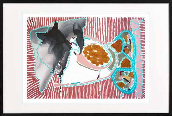 fine art print modern abstract fish by sarah jane artist titled australiana ia in a black frame