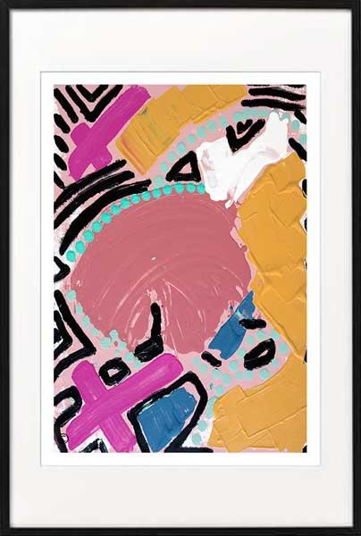 Fine Art Print Modern Abstract bright colours - Sarah Jane Artist - Australiana IVa - Black frame
