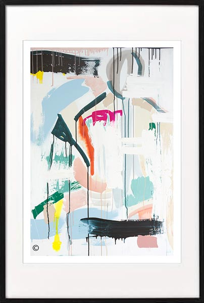 fine art print modern abstract colourful by sarah jane artist titled reengage iia in black frame