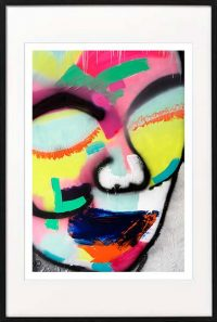 fine art print modern abstract colourful face by sarah jane artist titled hidden truth i in black frame