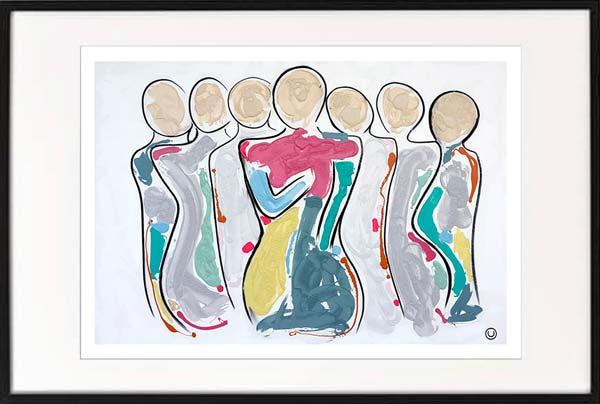 modern art print modern abstract family colourful by sarah jane artist titled bodyline bold ii in black frame