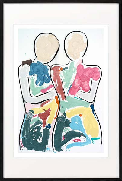 fine art print modern abstract figurative couple colourful by sarah jane artist titled bodyline bold i in black frame