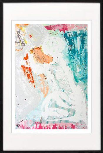 Fine Art Print Modern Abstract figurative couple hugging - Sarah Jane Artist - reaching out i - Black frame