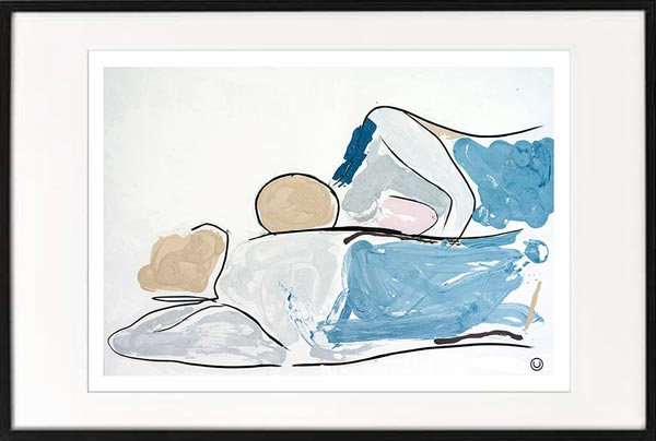 fine art print modern abstract figurative couple lying down by sarah jane artist titled bodyline vi in a black frame