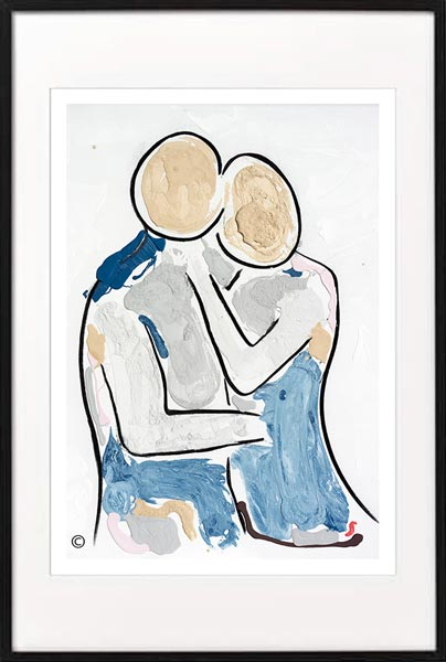 fine art print modern abstract figurative man about to iss woman by sarah jane artist titled bodyline viii in black frame