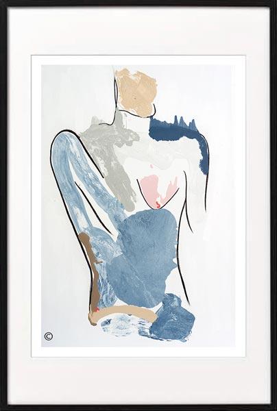 fine art print modern abstract figurative model woman by sarah jane artist titled bodyline i in a black frame