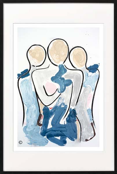 fine art print modern abstract mother kids by sarah jane artist titled bodyline xi in black frame