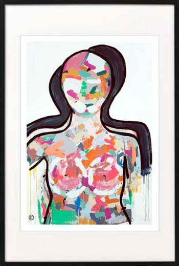 fine art print modern abstract figurative woman colourful by sarah jane artist titled love generation i in black frame