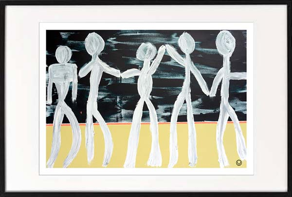 fine art print modern abstract people holding hands by sarah jane artist titled against the grain i in a black frame
