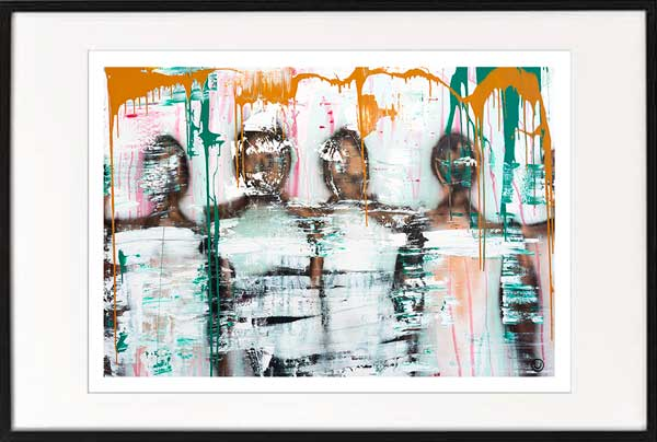fine art print modern abstract people standing together by sarah jane artist titled united we stand i in black frame