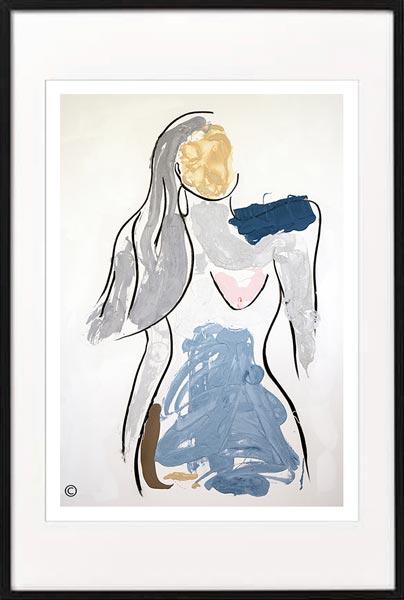 fine art print modern abstract woman confident by sarah jane artist titled bodyline v in black frame