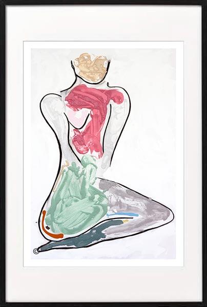 fine art print modern abstract woman kneeling colourful by sarah jane artist titled bodyline bold iii in black frame