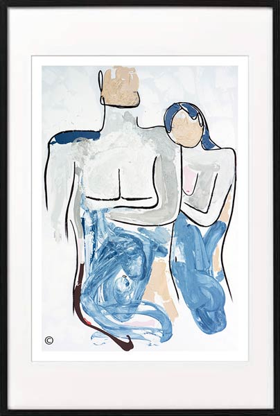 fine art print modern abstract of a woman resting her head on mans shoulder by sarah jane artist titled bodyline iv in a black frame