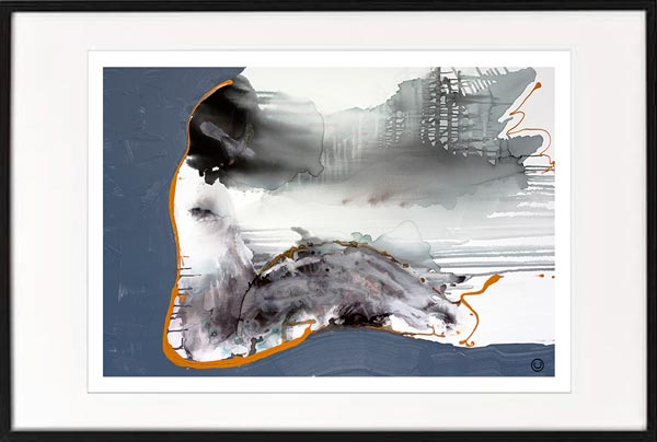 fine art print modern abstract woman sitting navy grey tones by sarah jane artist titled wind of change i in black frame