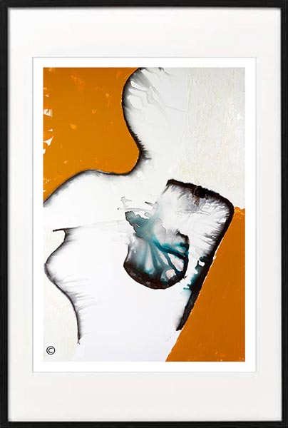 Fine Art Print Modern Abstract Woman By Sarah Jane Artist Titled Silhouette I in Black Frame
