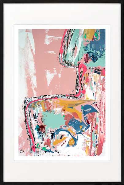 Fine Art Print womans back Modern Abstract colourful - Sarah Jane Artist - no nonsense I - Black frame