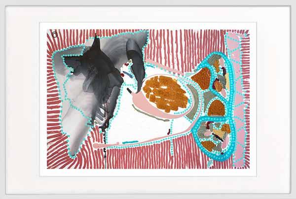 Fish Print abstract colourful - Sarah Jane Artist - Australiana Ia - White frame
