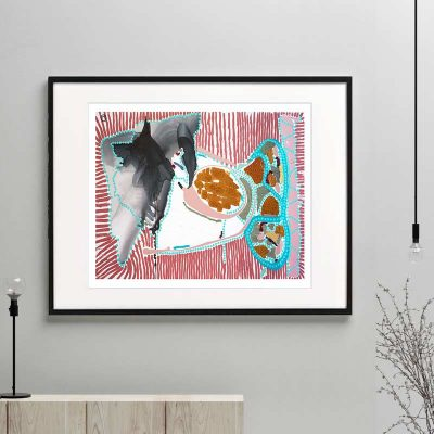fish print modern abstract bright colours titled australiana ia by sarah jane australian artist framed or unframed