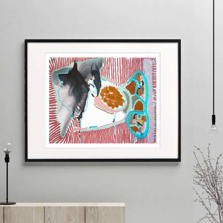 fish print modern abstract bright colours titled australiana ia by sarah jane australian artist framed or unframed